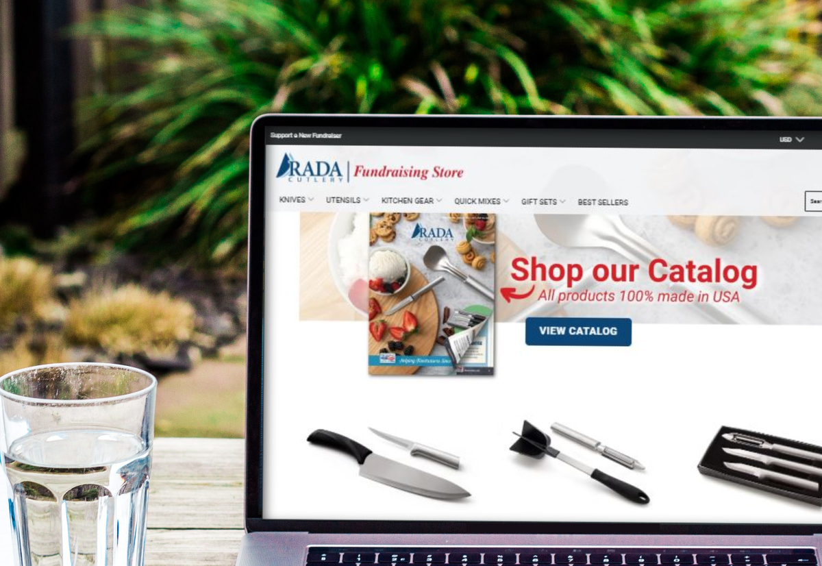 Computer screen showing the Rada Fundraising Shopping website