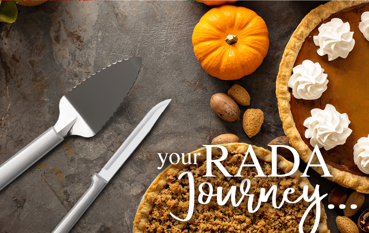Rada Pie Server and Slicer next to pumpkin pie and text that reads your Rada journey...