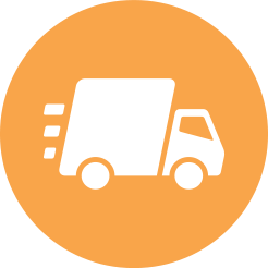 Icon of Delivery Truck in an orange circle