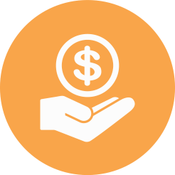 Icon of hand holding money in an orange circle