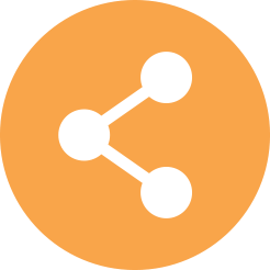 Icon with three cirlces connected with lines in an orange circle